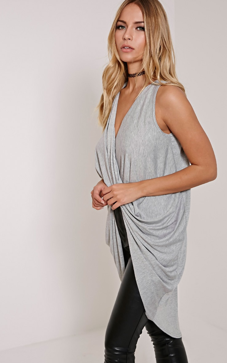 Brea Grey Long Twist Front Sleeveless Top 3