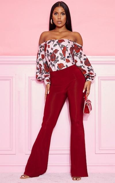 Burgundy Slinky Flared Trousers