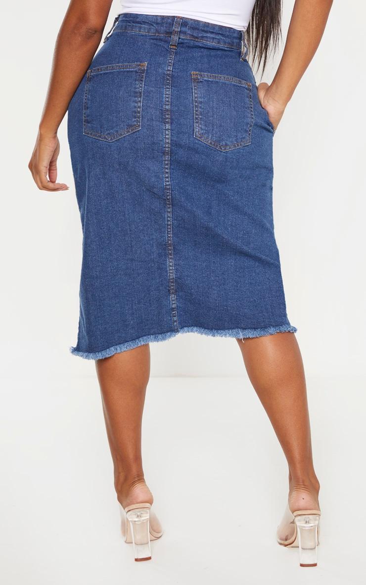 Shape - Jupe portefeuille mi-longue en jean moyennement délavé 4