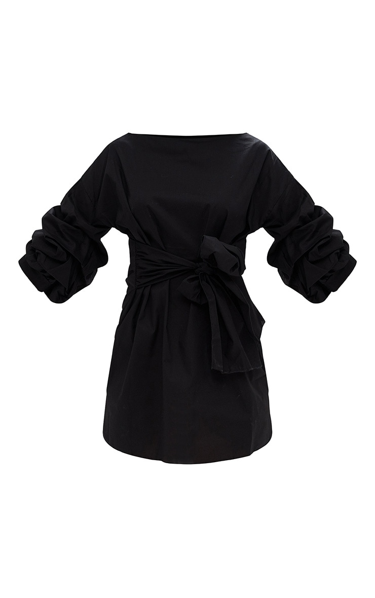 Black Oversized Ruffle Sleeve Shift Dress 3