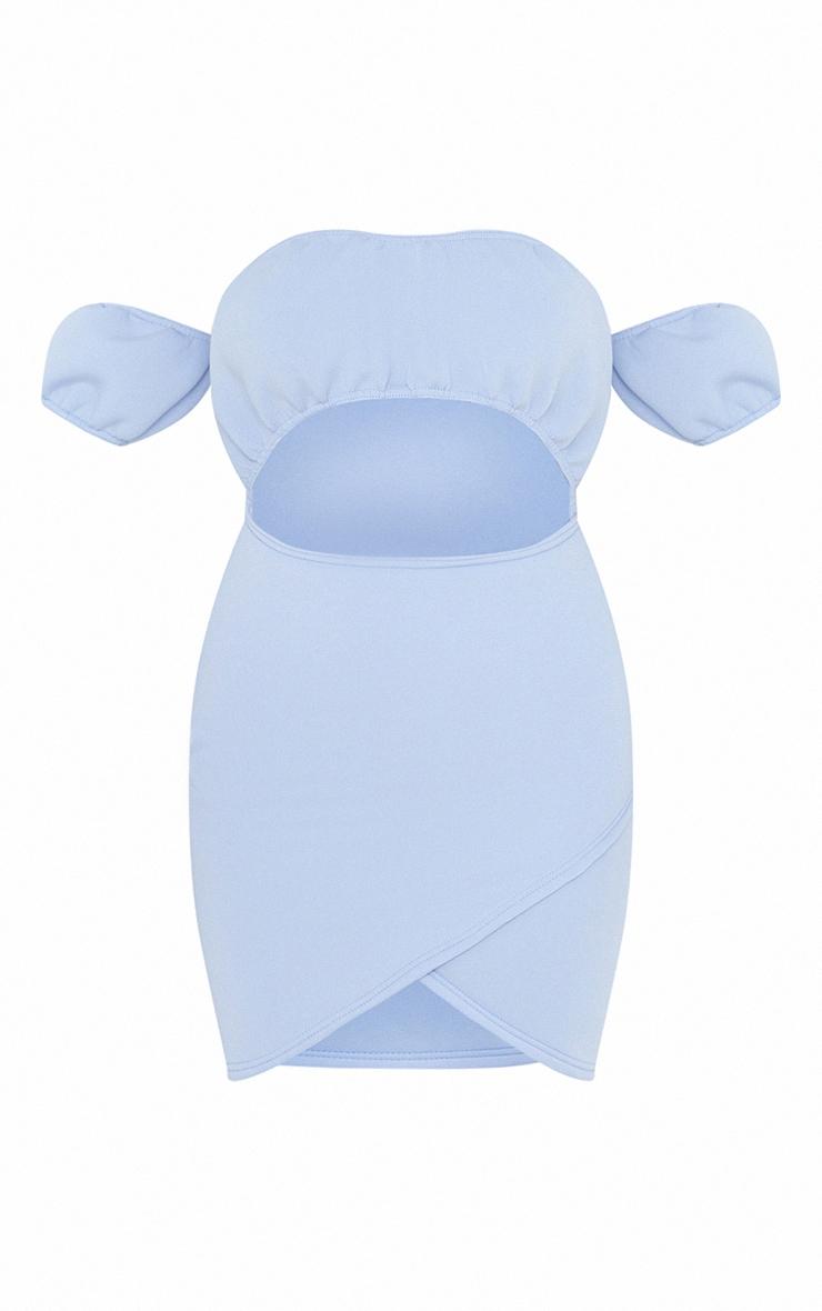 Robe moulante en néoprène bleu ciel à jupe portefeuille 5