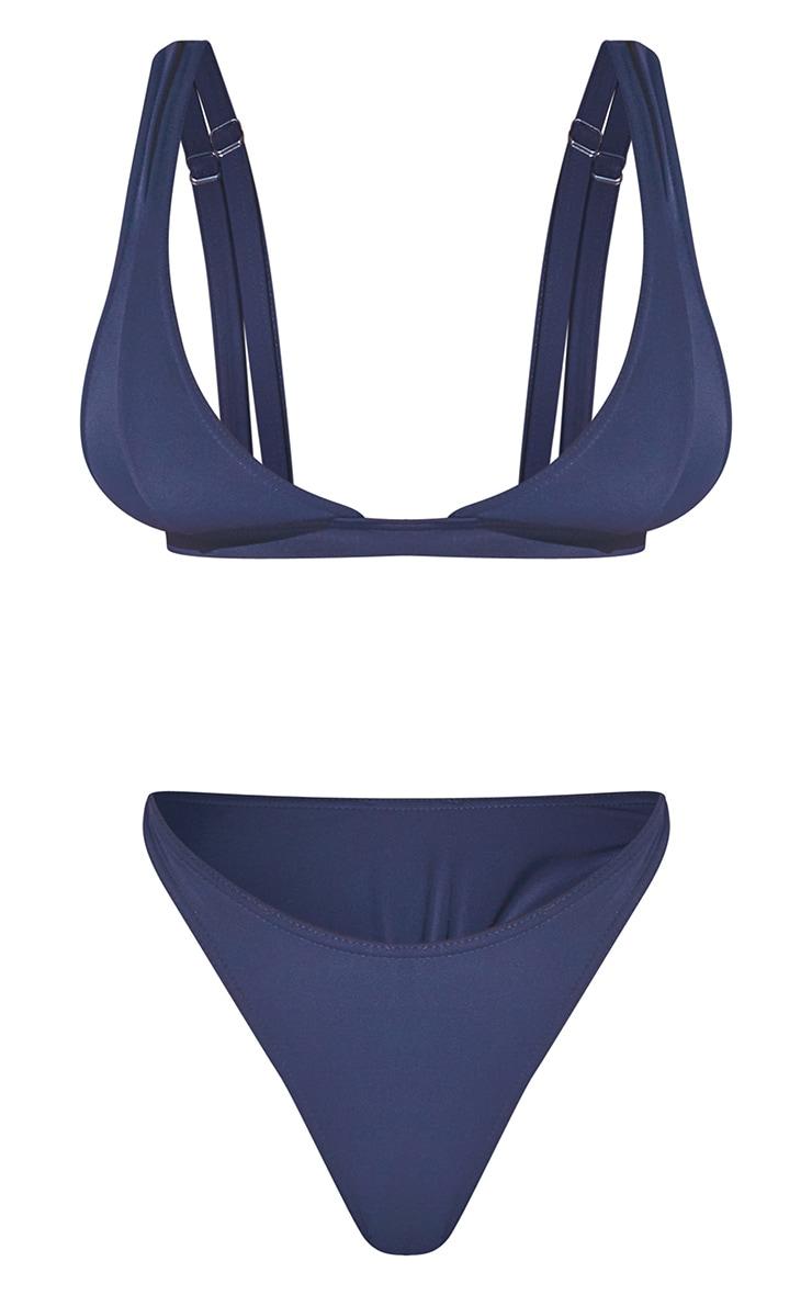 Blue Plunge Strap Cut Out Bikini Set 5