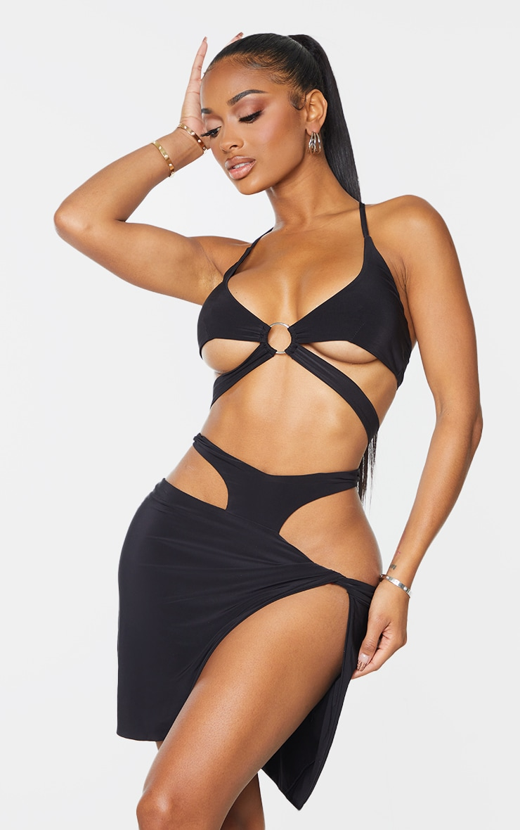 Shape Black Slinky Knot Side Cut Out Bodycon Skirt