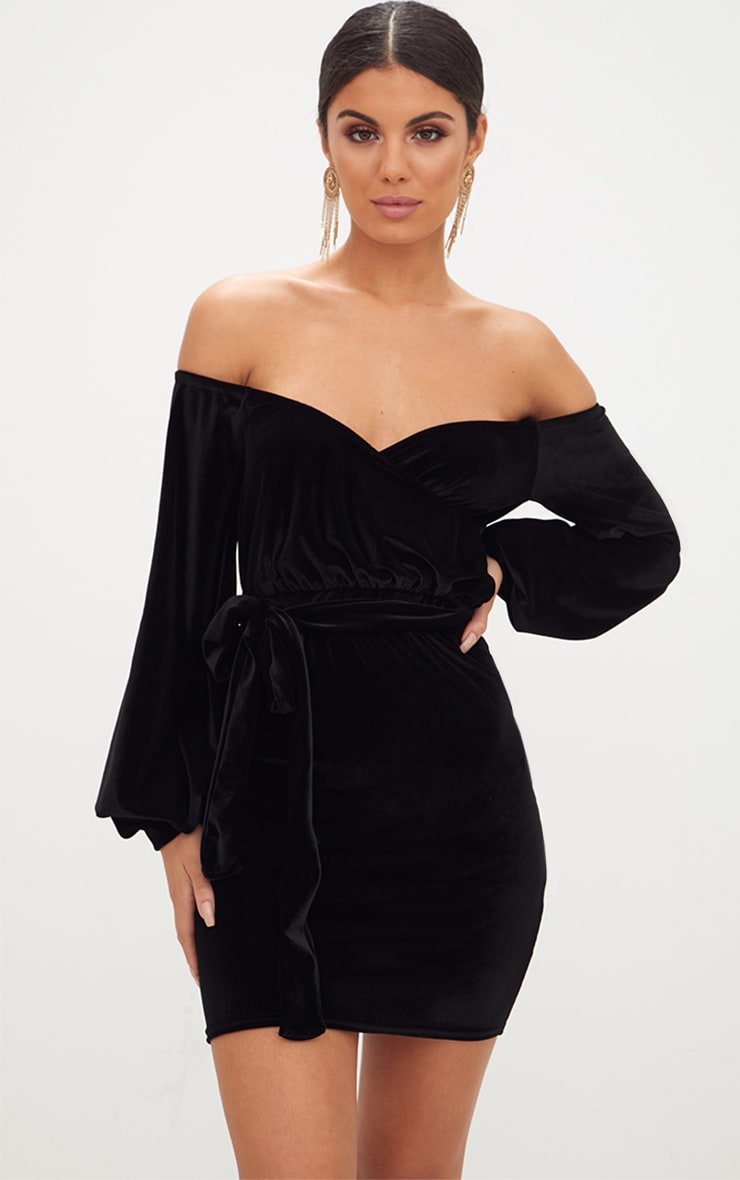 Black Velvet Balloon Sleeve Wrap Front Bardot Bodycon Dress image 1 80e769c83