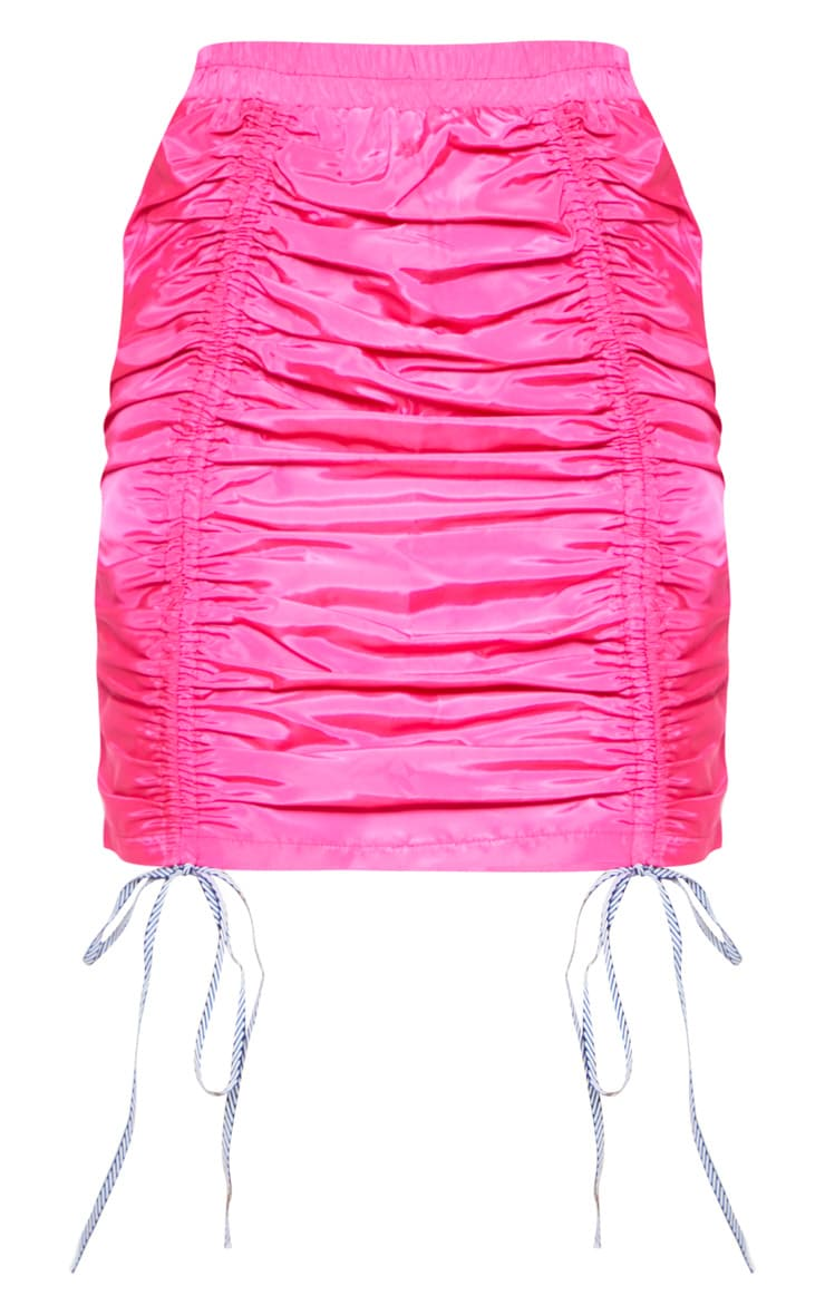 Bright Pink Ruched Front Shell Mini Skirt 4