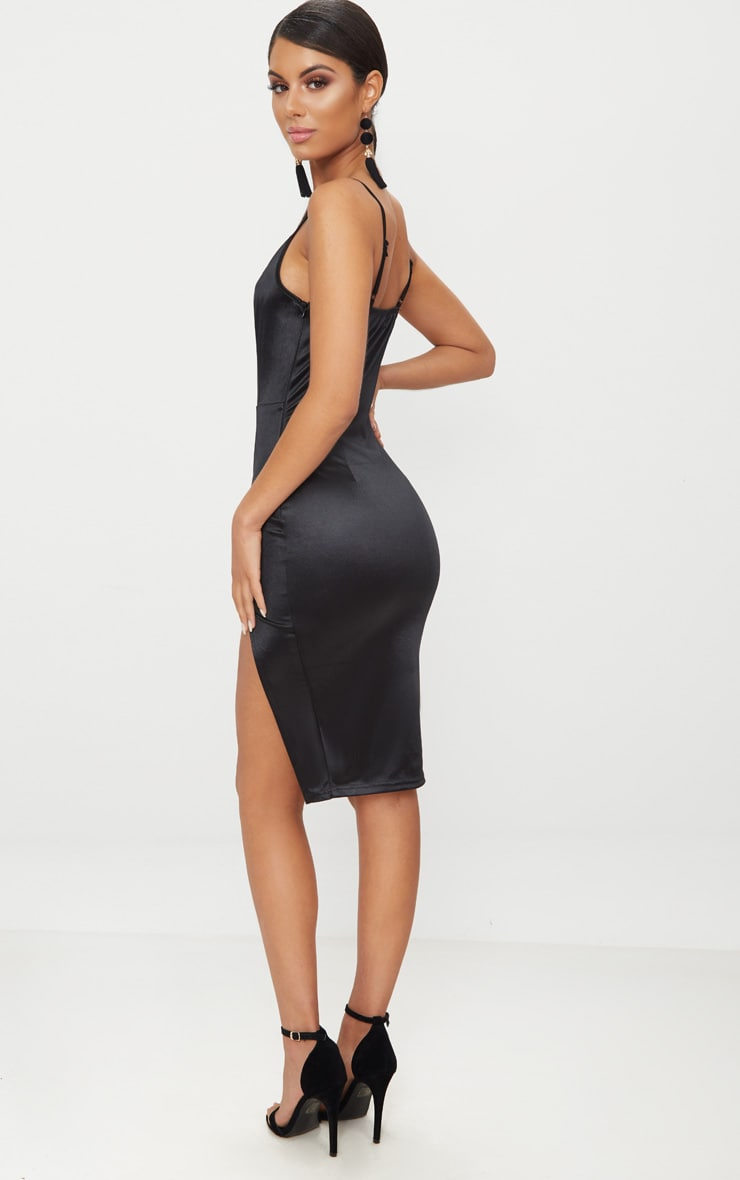 Black Satin Extreme Split Plunge Midi Dress 2