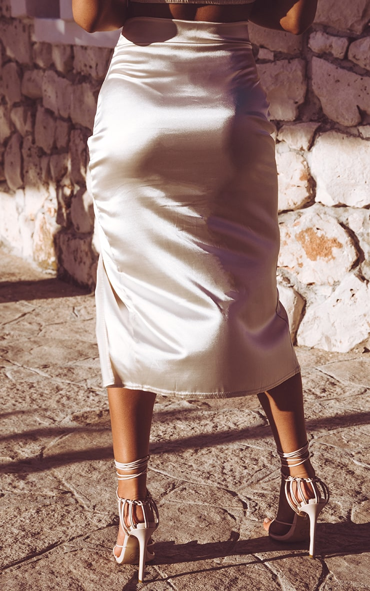 Champagne Satin Slit Front Midi Skirt  4
