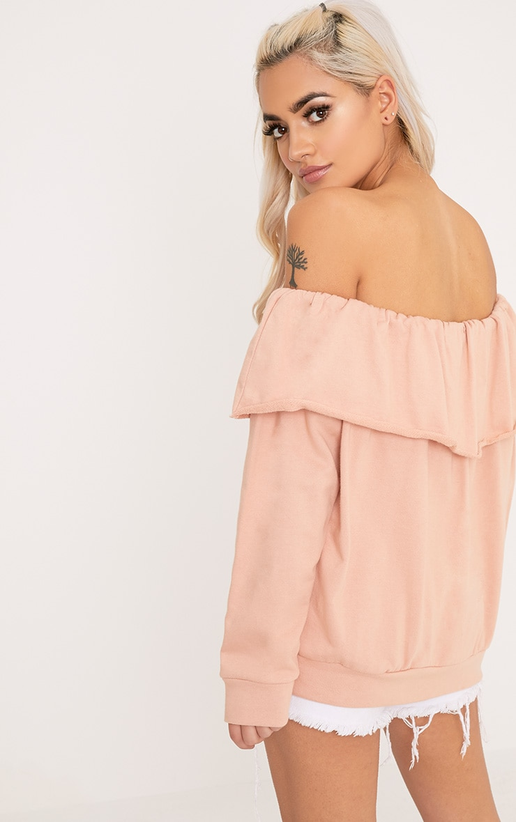 SO WHAT Slogan Dusty Coral Bardot Oversized Sweater 2