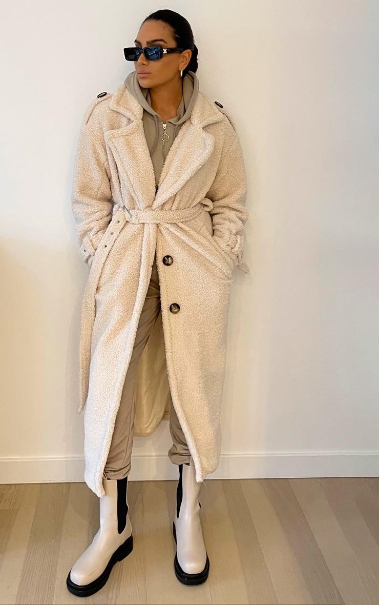 Cream Borg Oversized Belted Coat 1