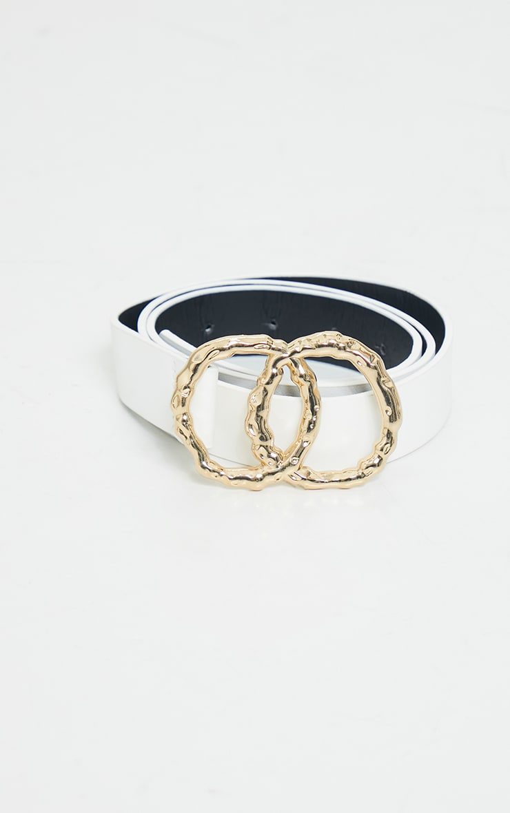 White Double Ring Buckle Belt 2