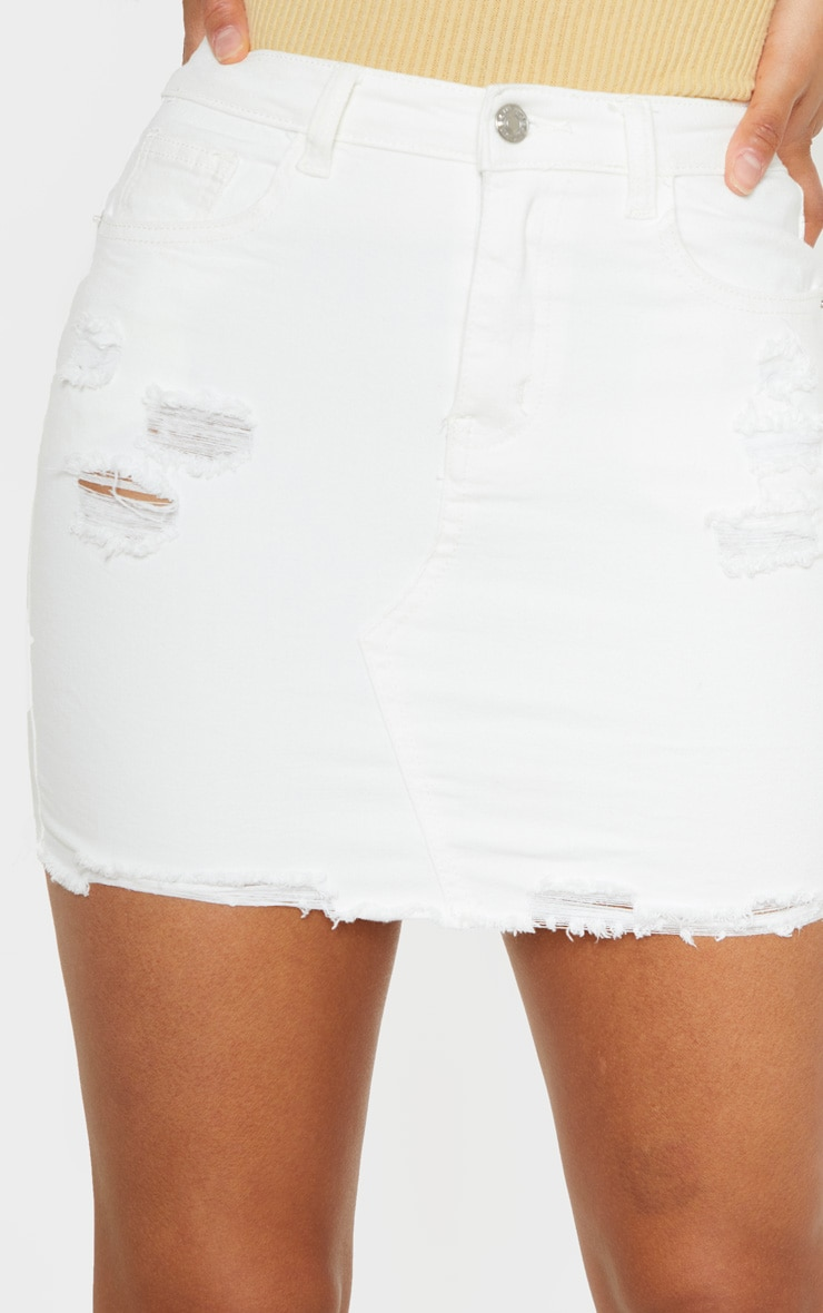 White Distressed Denim Stretch Skirt 6