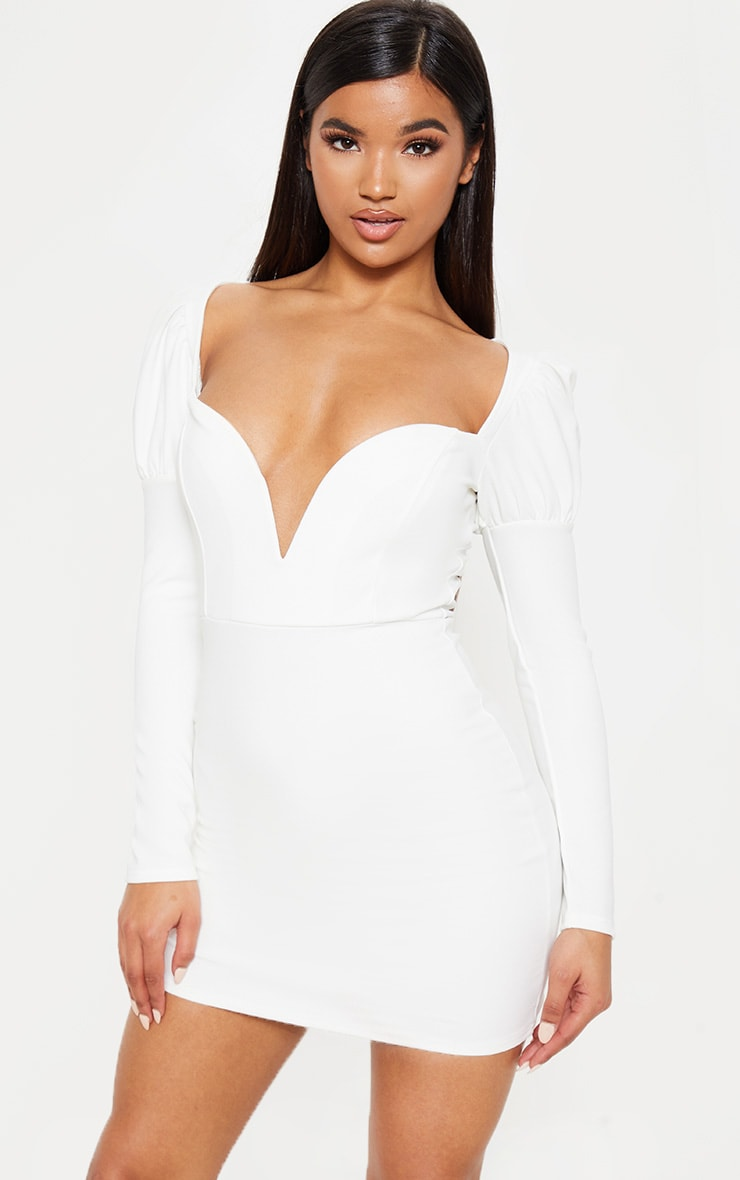 White Puff Shoulder Deep Plunge Bodycon Dress 1
