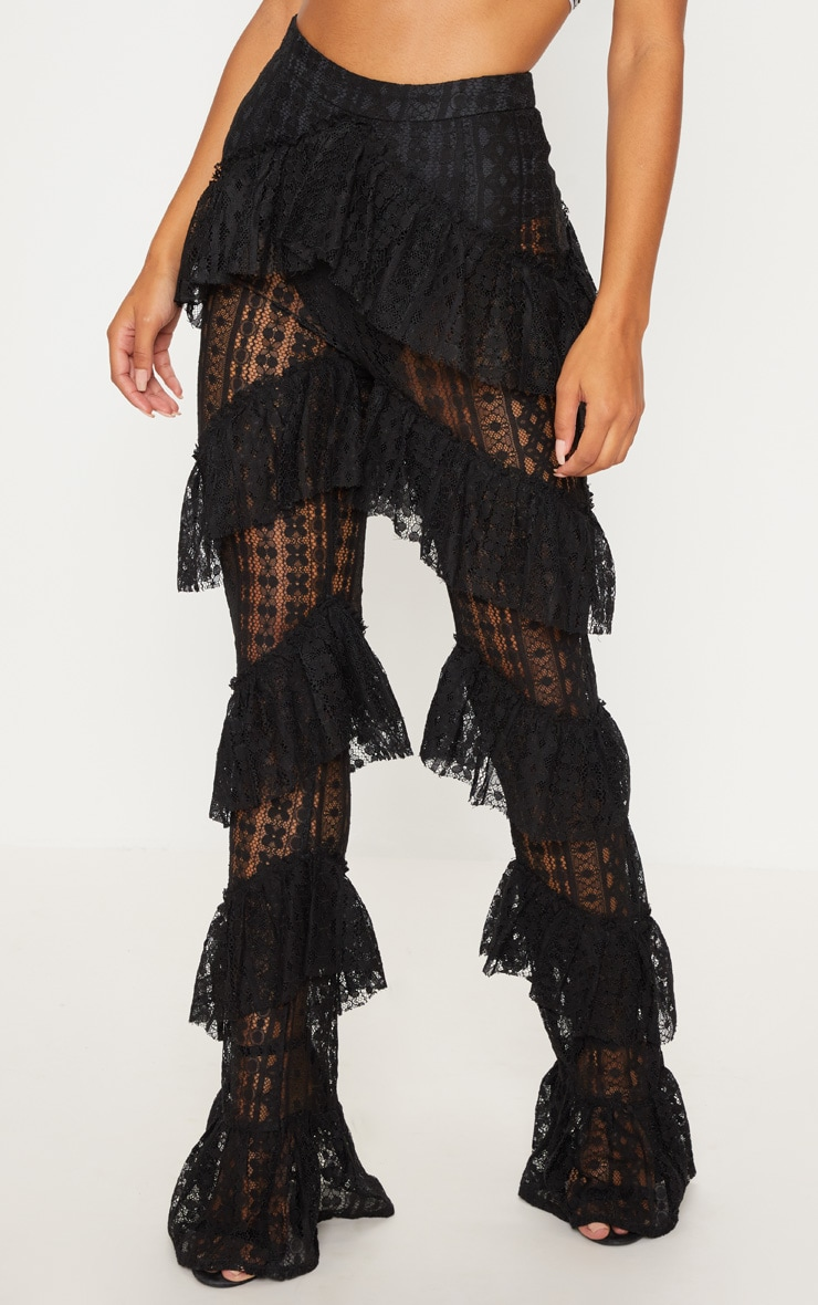 Black Tiered Lace Flare Trouser 2