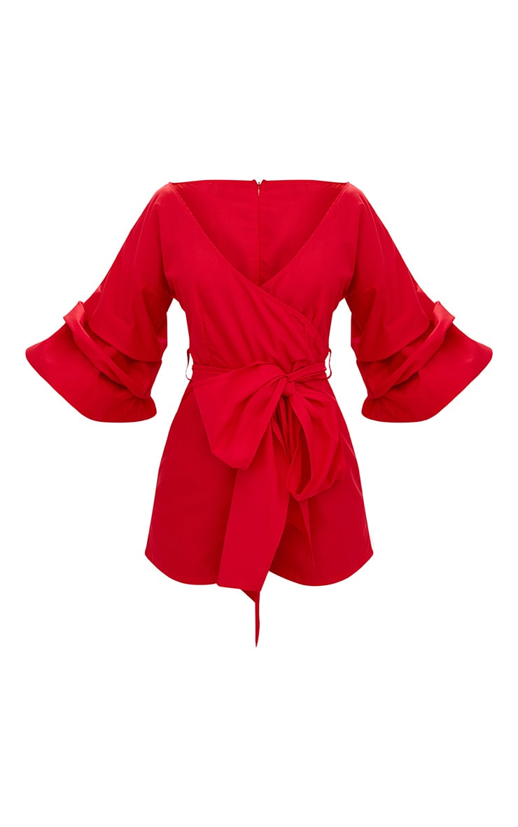 Red Frill Sleeve Tie Waist Playsuit 4
