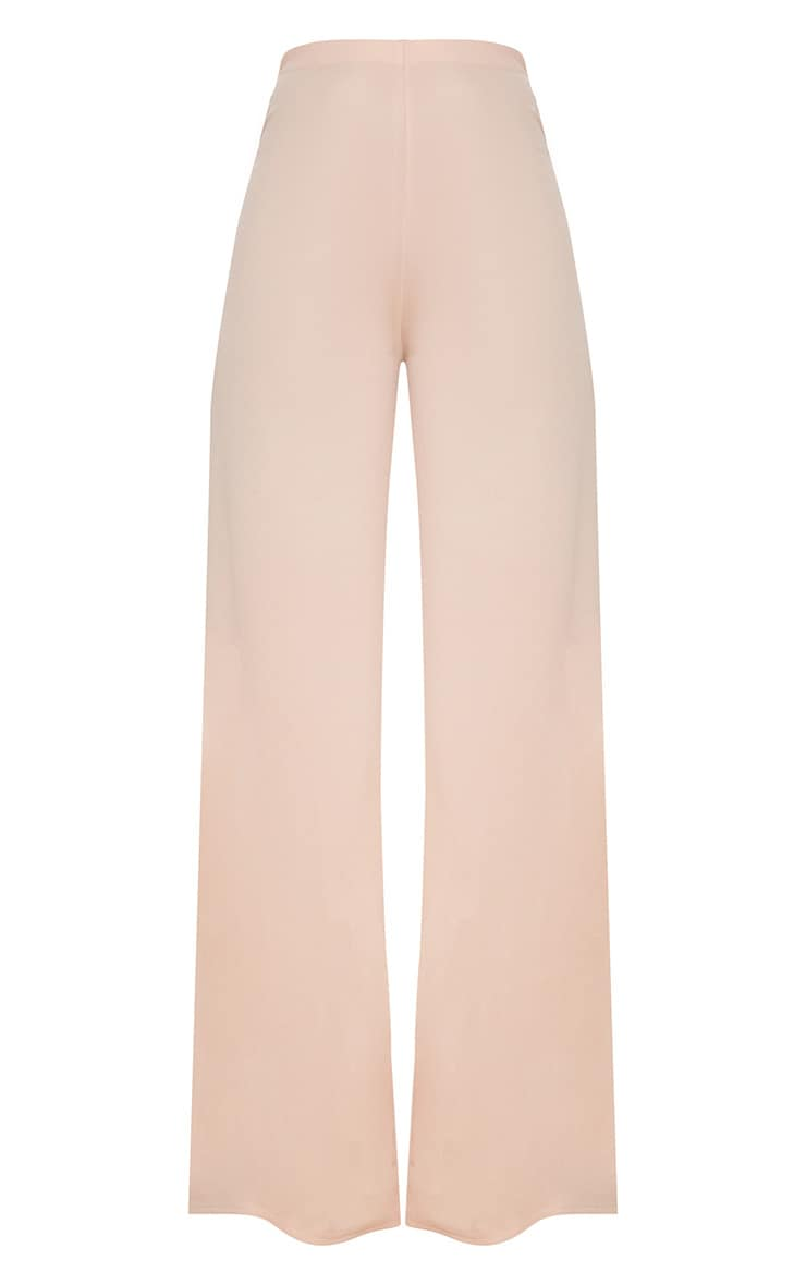 Nude High Waisted Wide Leg Trousers 3