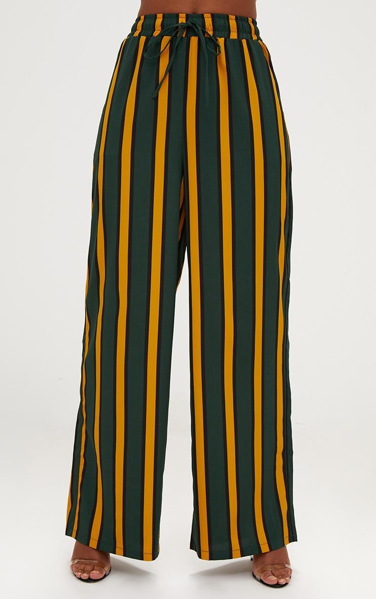 Emerald Green Stripe Wide Leg Trousers 2