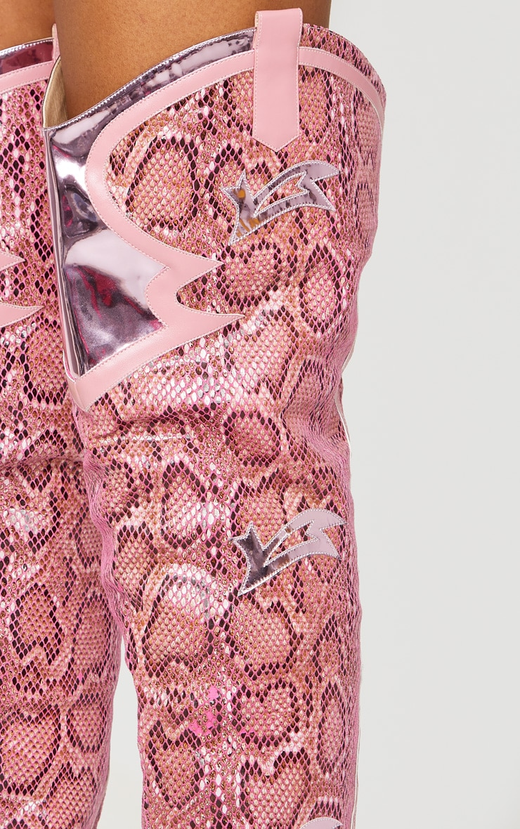 Pink Metallic and Snake Thigh High Western Boots 3