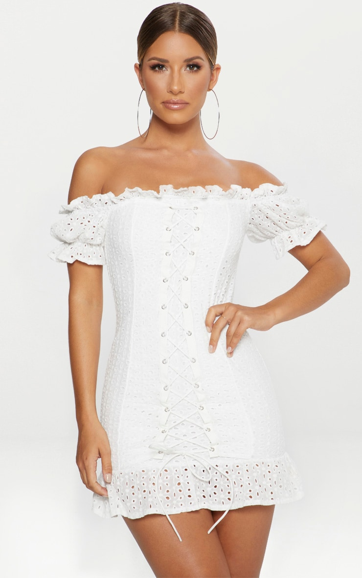 White Bardot Lace Up Broderie Anglaise Bodycon Dress