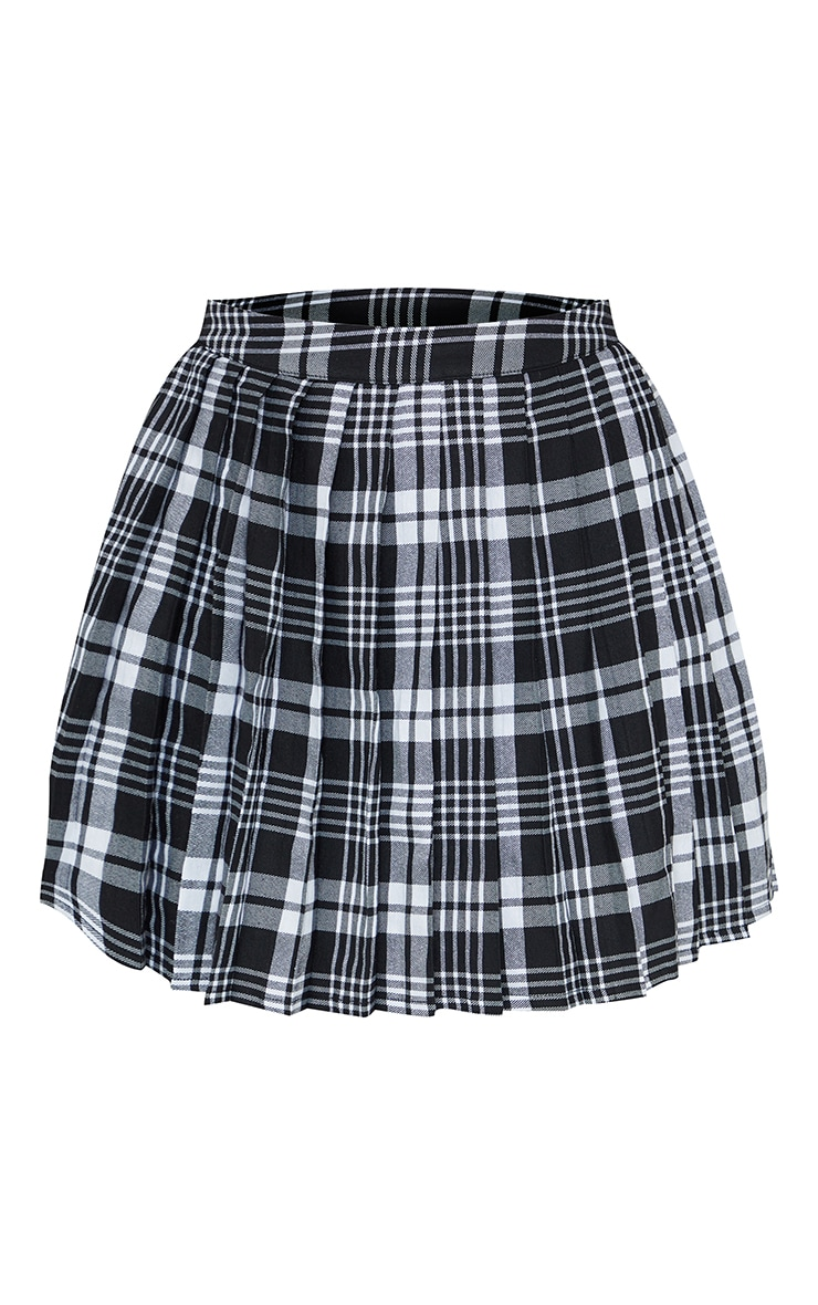 Black Woven Check Pleated Tennis Skirt 6