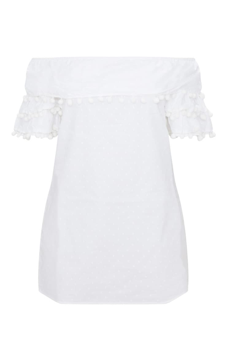 White Pom Pom Bardot Shift Dress 3