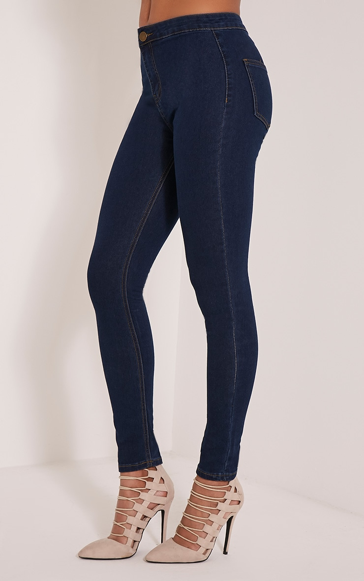 Dark Blue Wash High Waisted Skinny Jeans 4
