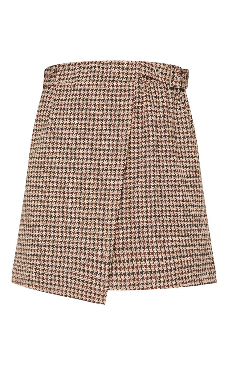 Chocolate Dogtooth Check Buckle Detail Mini Skirt 3