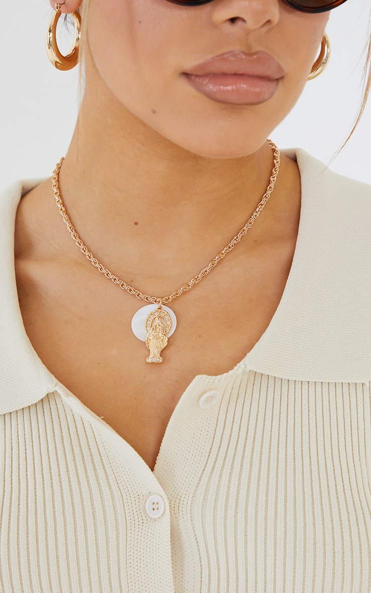 Gold Renaissance With Opal Disc Chain Necklace 1