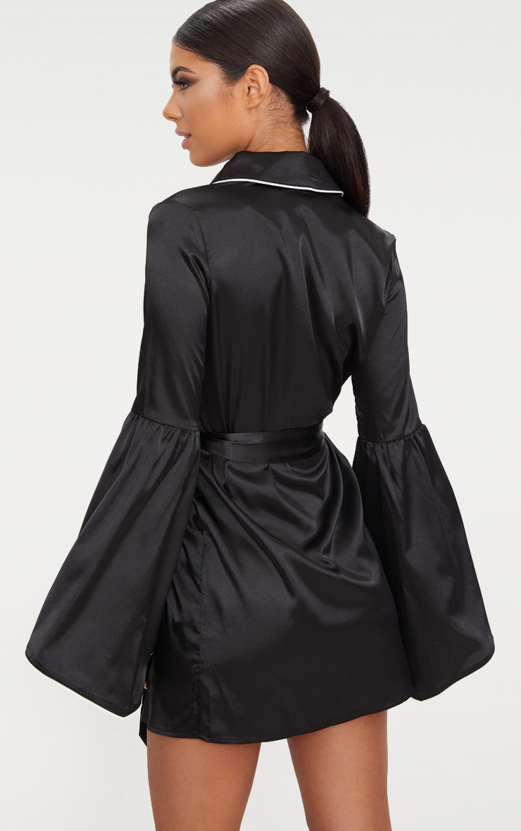 Black Satin Flare Sleeve Binding Detail Blazer Dress 2