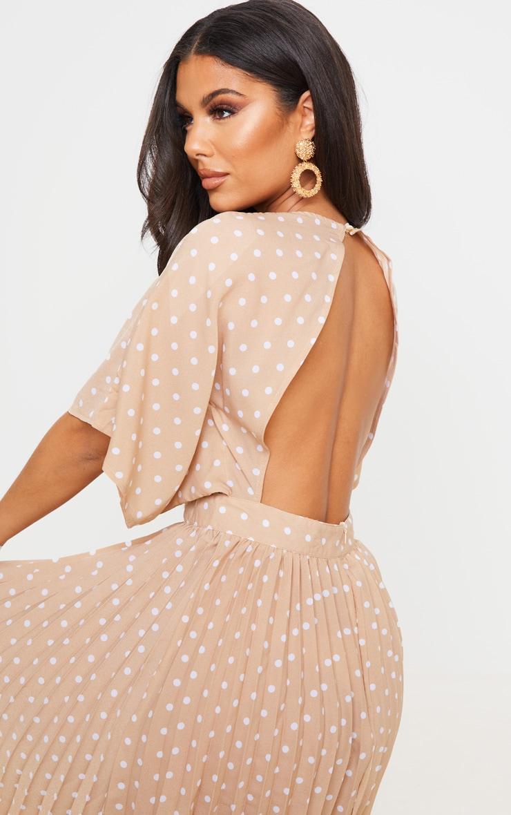 Nude Polka Dot Open Back Pleated Midi Dress 5