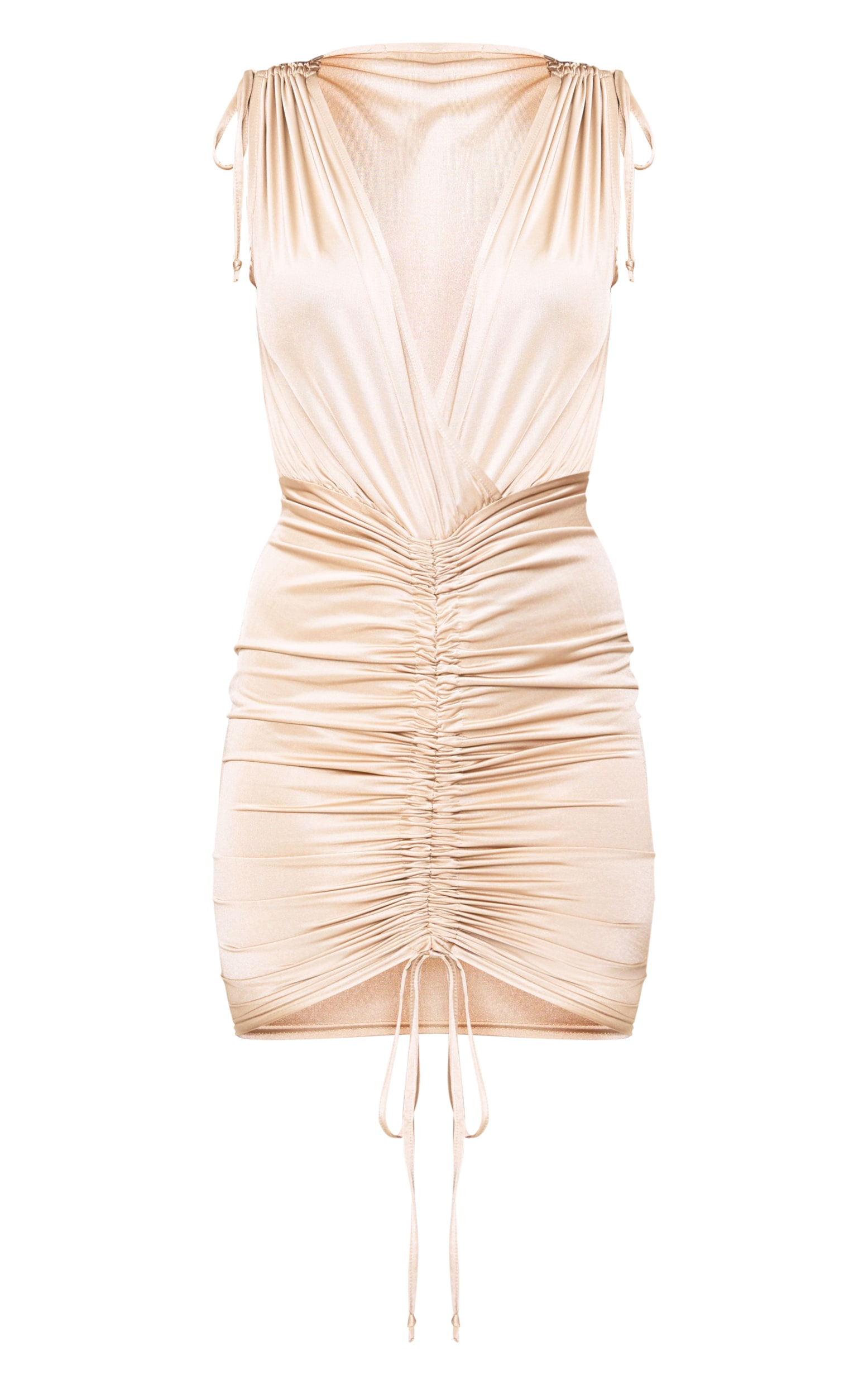 Nude Plunge Ruched Detail Midi Dress 3