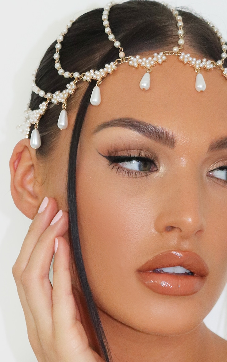 Gold and White Beaded Head Piece 2