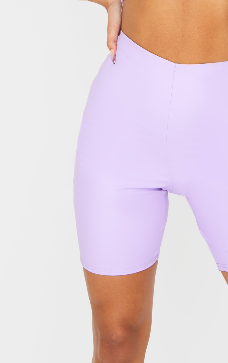 Lilac Faux Leather Bike Shorts 5