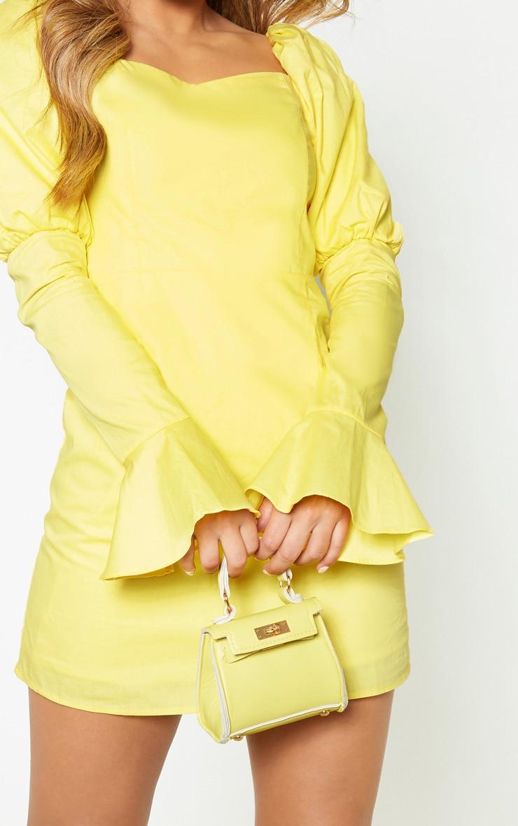 Petite Lemon Yellow Bardot Puff Shoulder Bodycon Dress 5