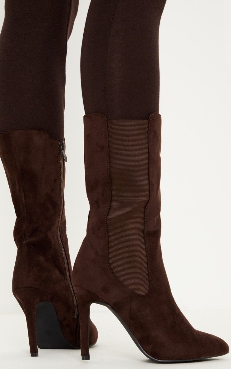 Chocolate Elastic Side Heeled Midi Boot