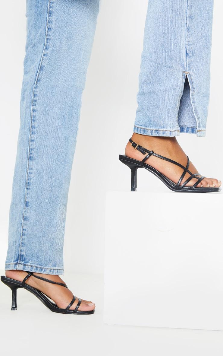 Black Low Heel Strappy Sandal 2