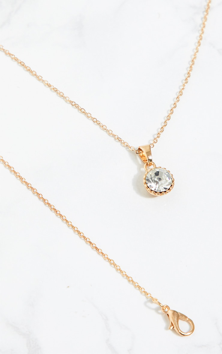 Gold Diamante Pendant Necklace 4