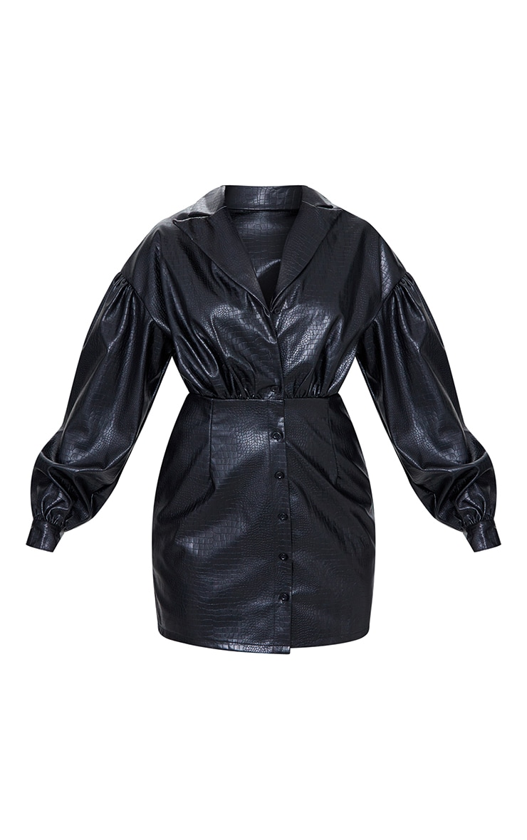 Black Croc Faux Leather Ruched Detail Balloon Sleeve Shirt Dress 5