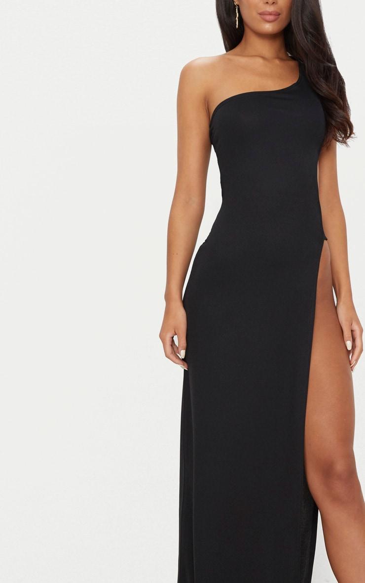 Black One Shoulder Extreme Split Cut Out Detail Maxi Dress 5