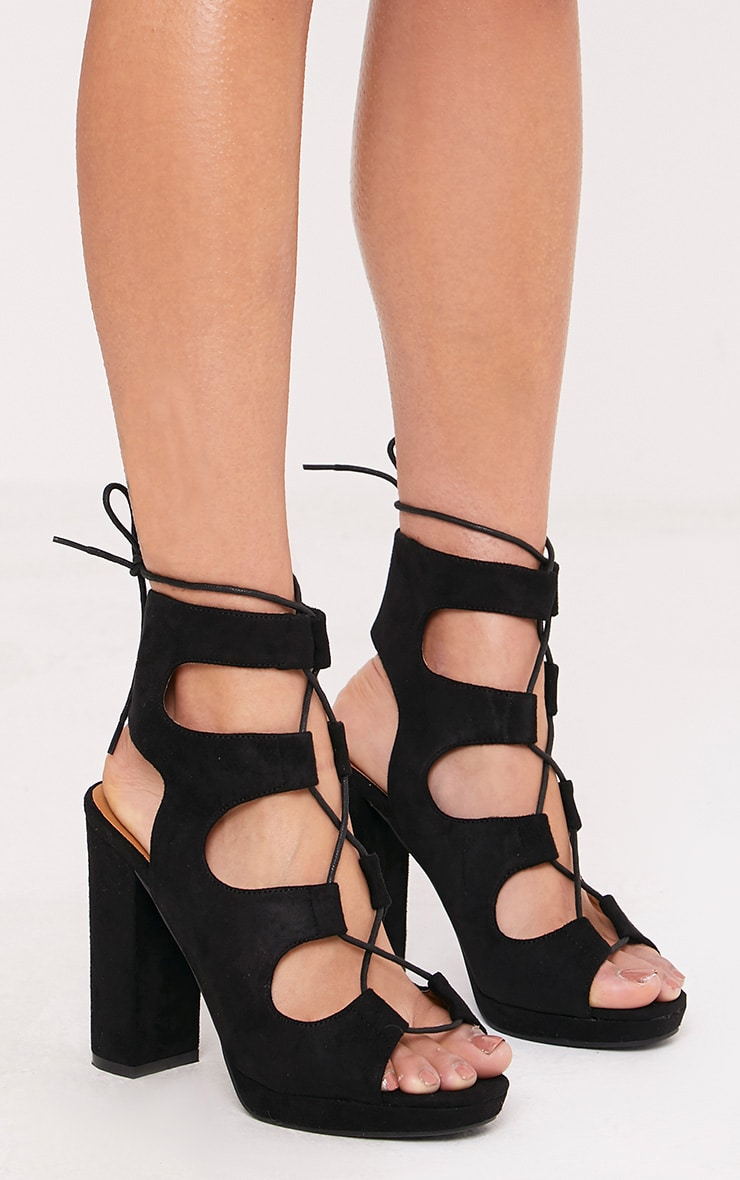 Carlia Black Platform Gladiator Heels 1