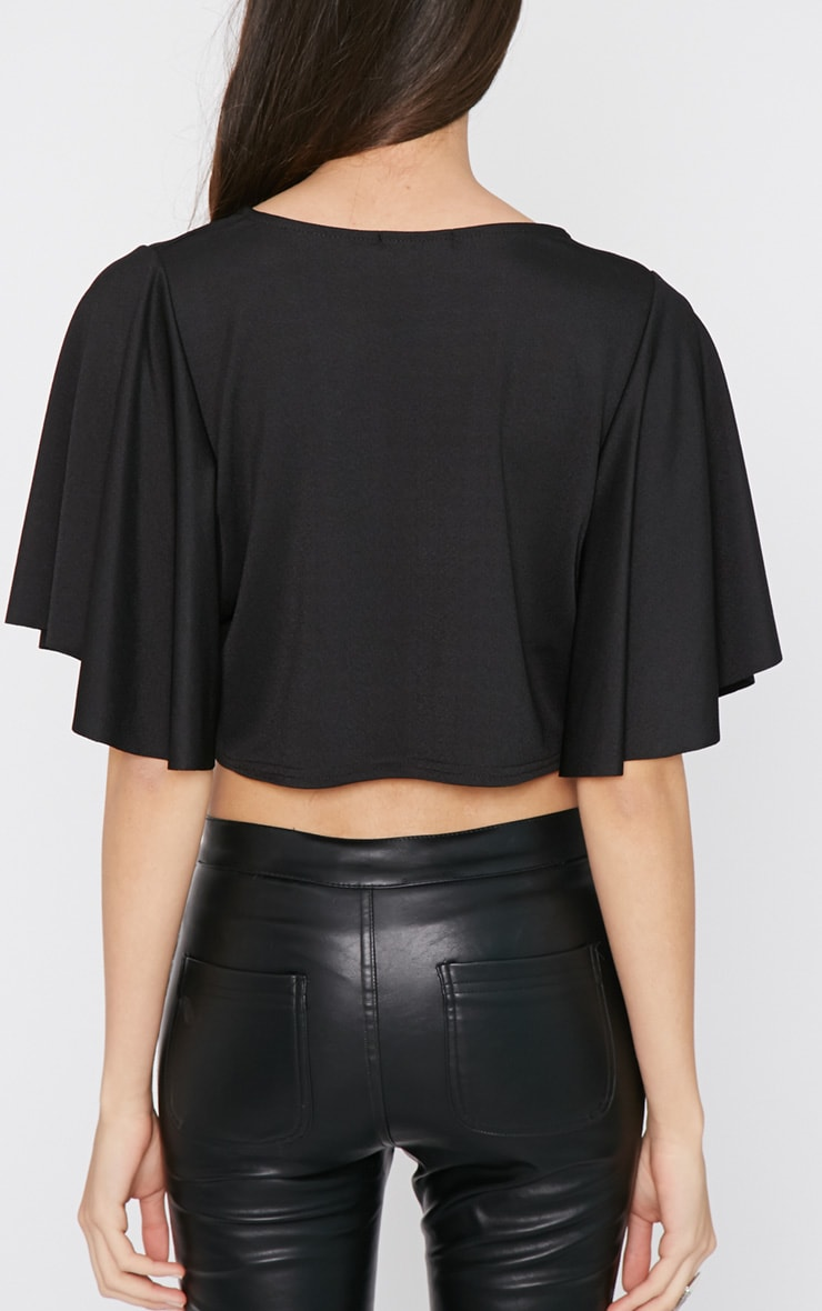 Telca Black Batwing Crop  2