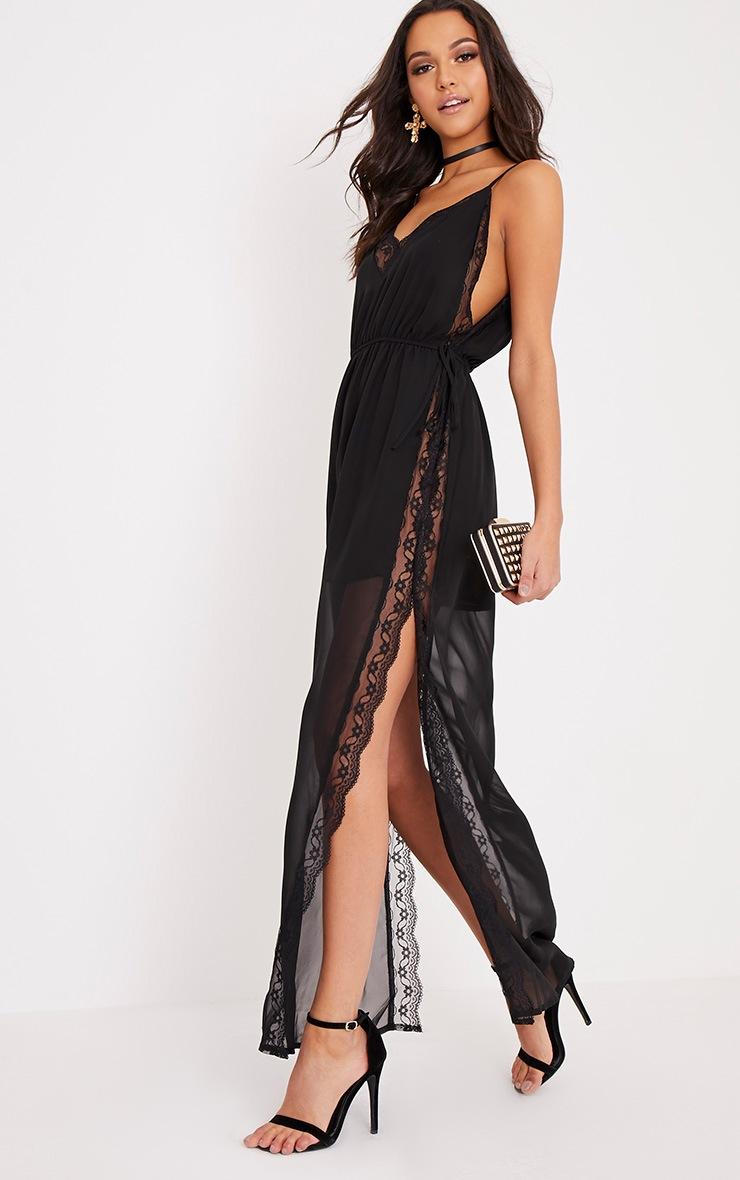 Mayliah Black Strappy Lace Side Maxi Dress 4