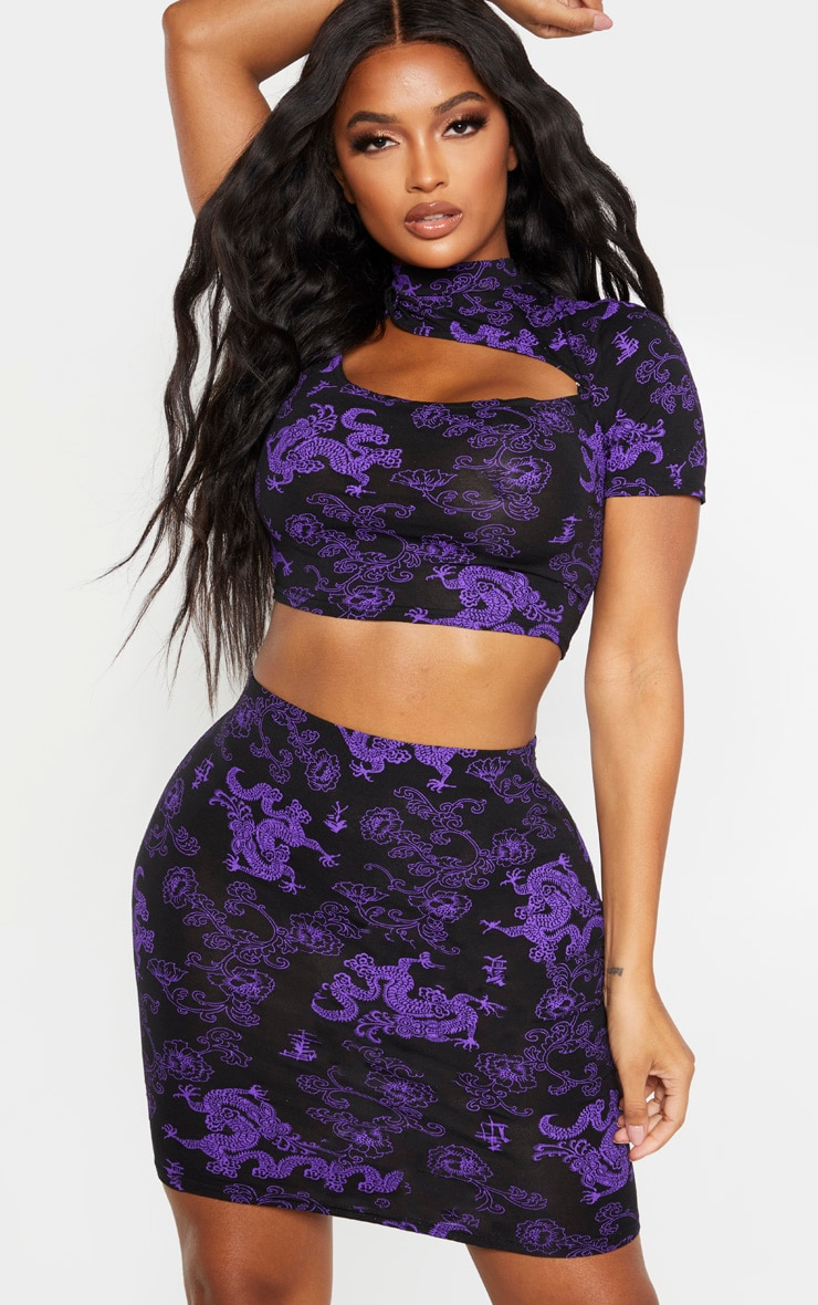 Shape Purple Dragon Print Bodycon Skirt 1