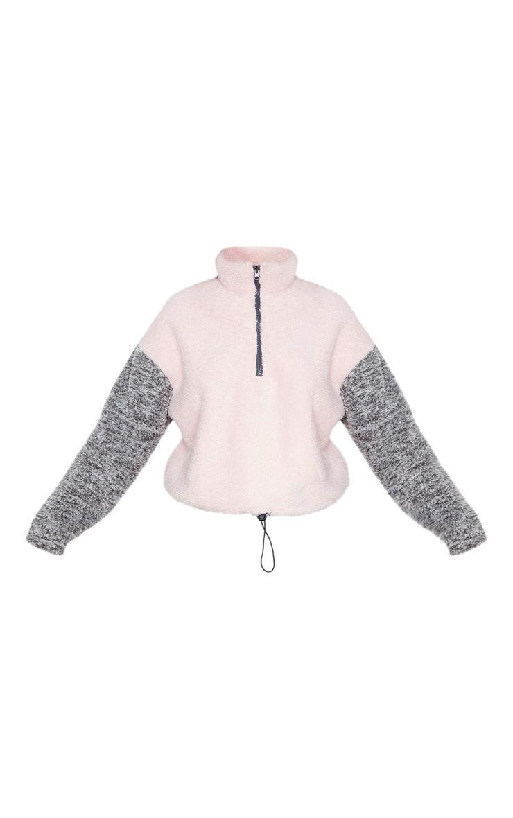 Grey Borg Contrast Crop Zip Sweater 3
