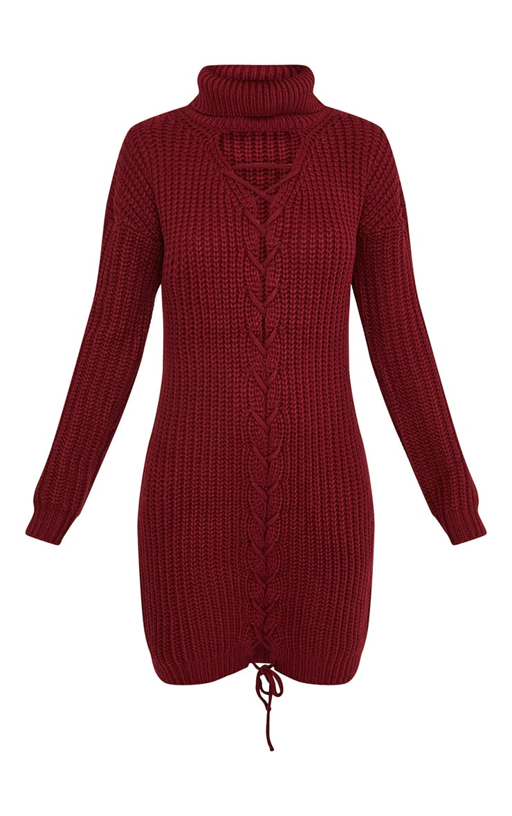 Josalinda robe col roulé à lien à nouer sur le devant en maille rouge 3