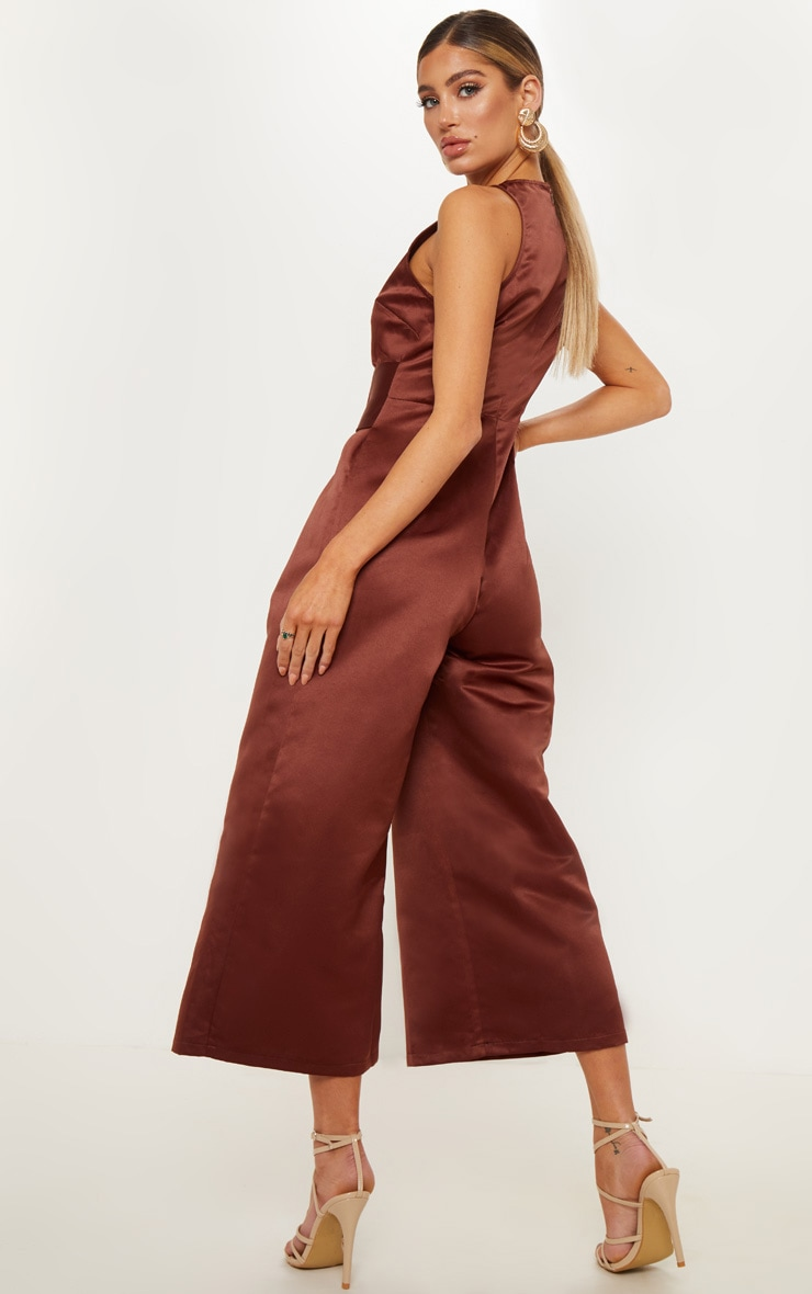 Chocolate Satin Belt Culotte Jumpsuit 2