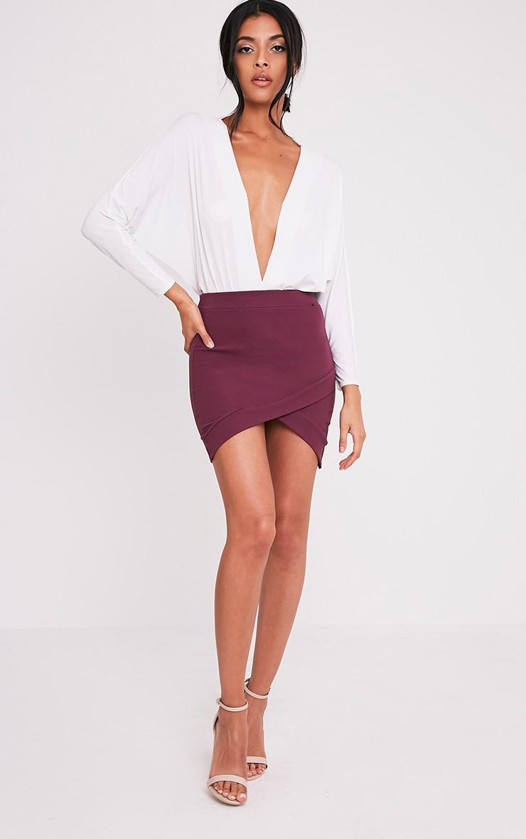 Gabriella Aubergine Asymmetric Mini Skirt 6