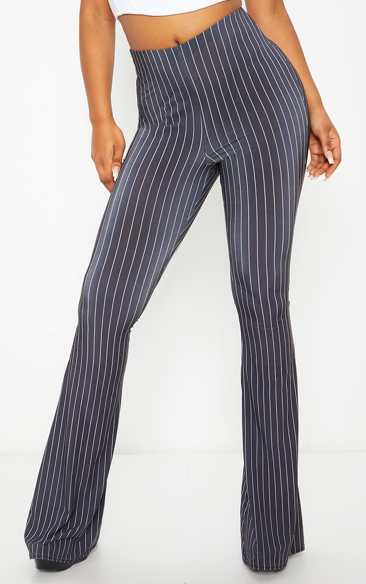 Black Pinstripe Ruched Bum Slinky Flared Trousers 2