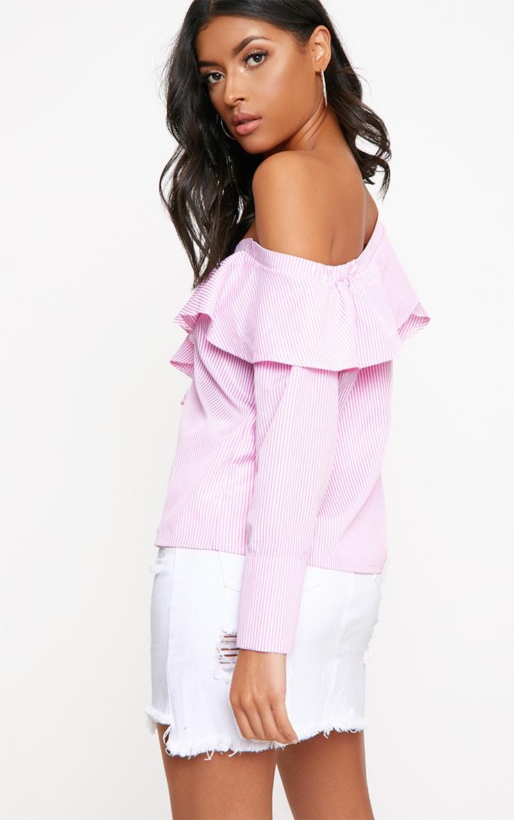 Pink Stripe Off Shoulder Frill Shirt 2