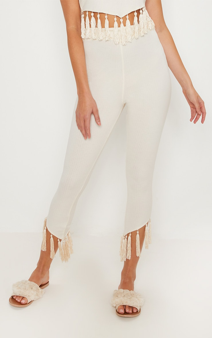 Cream Rib Tassel Trim Legging 2