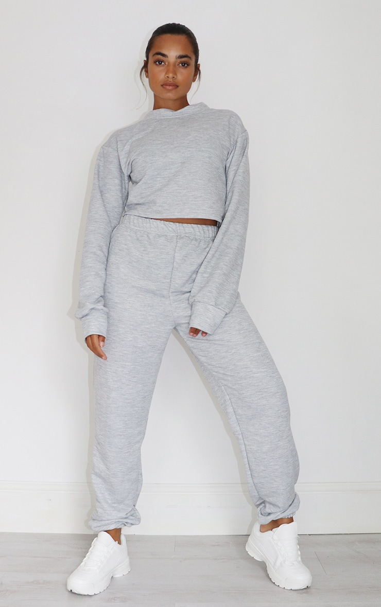 Petite Grey Cropped Sweat and Jogger Set 1